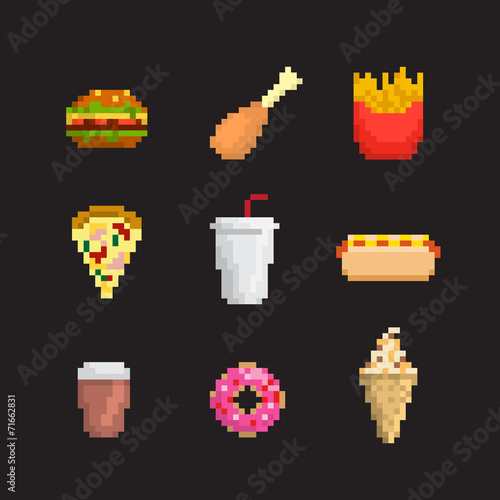 Pixel Art Fruit And Berries Icon Set Stock Image And