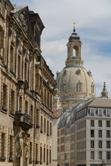 Dresden historical center with Frauenkirche (lutheran church)