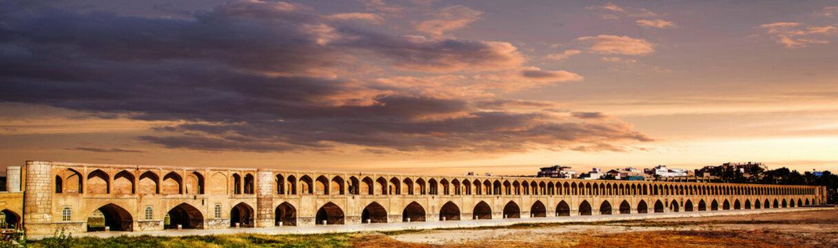 Sio Se Pol bridge on Zayande River in Isfahan, Iran