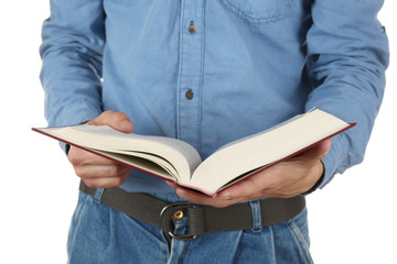 Man holding book closeup