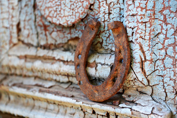 Wall Mural - Old horse shoe on vintage wooden door, outdoors