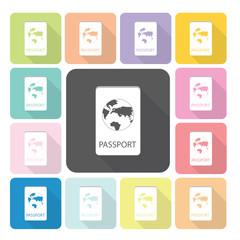 Passport Icon color set vector illustration