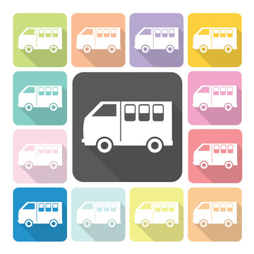 Van Icon color set vector illustration