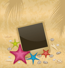 Vintage background with photo frame, starfishes, pebble stones,