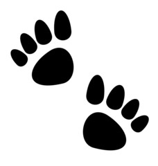 Black animal paws print isolated on white background