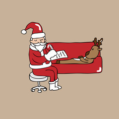 Santa psychiatrist and reindeer