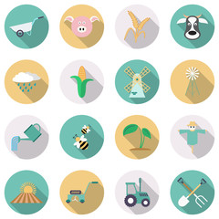 Agriculture and farming flat vector icons.