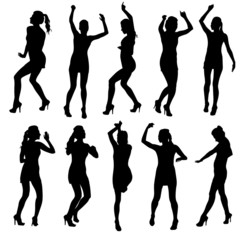 Beautiful women dancing silhouette isolated. Vector illustration