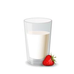 Glass of milk with strawberry