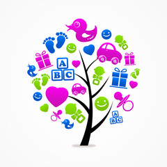 logo business abstract tree baby icon