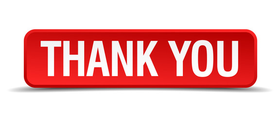 Thank you red 3d square button isolated on white