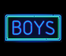 Boys neon sign illuminated over dark background