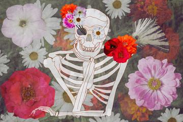 romantic skull on a floral background