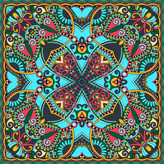 Garden Poster Moroccan Tiles Traditional ornamental floral paisley bandanna. You can use this