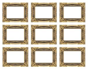 set 9 of vintage gold frame isolated on white background
