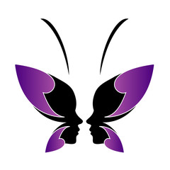 Face of a lady and butterfly- logo concept for spa or beauty