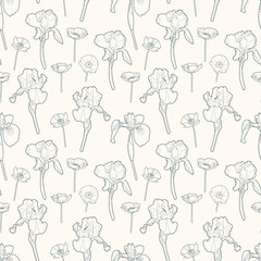 Seamless gentle vintage floral pattern with irises and poppy