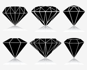 Set of different diamond, vector illustration