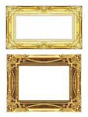 set 2 of Vintage golden frame with blank space, clipping path