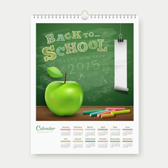 Calendar 2015 back to school concept design