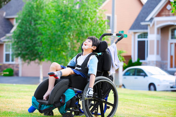Disabled boy enjoying time at the park