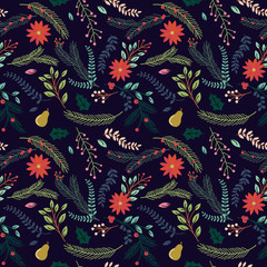 Seamless Tileable Christmas Holiday Floral Background Pattern -