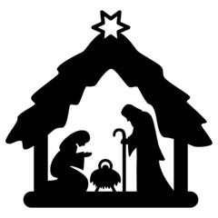 Weihnachtskrippe, Krippenfiguren, schwarz, freigestellt, Vektor