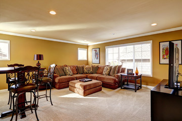 Luxury family room with comfortable sofa