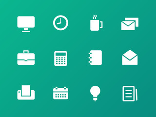 Business icons on green background.