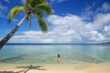 Young woman in bikini standing in clear water, Nananu-i-Ra islan