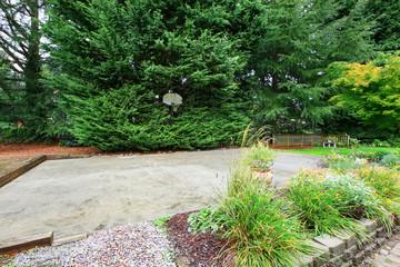 Basketball court on backyard area