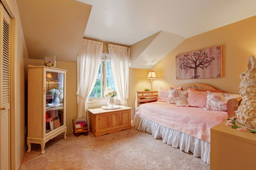 Romantic bedroom interior in soft tones