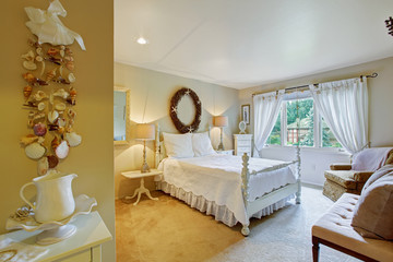 White bedroom interior in old fashion style