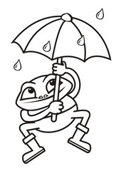 Frog and umbrella, coloring book