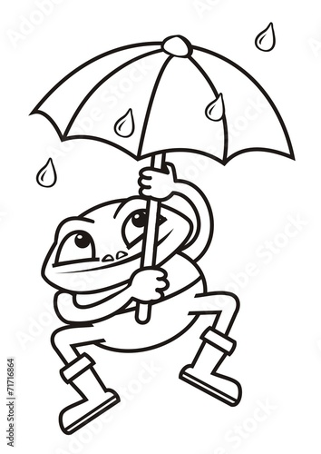 Frog And Umbrella Coloring Book
