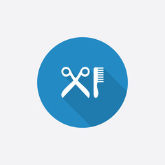 barbershop Flat Blue Simple Icon with long shadow.