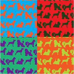 Seamless pop art style background with dogs