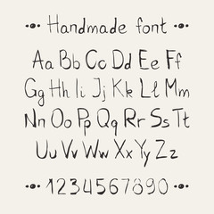 Simple monochrome hand drawn font. Complete abc alphabet set.