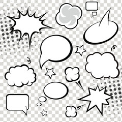 Comic speech bubbles and comic strip on monochrome  background
