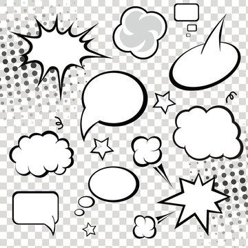 Comic speech bubbles and comic strip on monochrome  background
