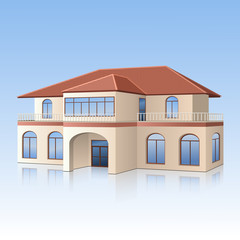 house with a tiled roof and reflection