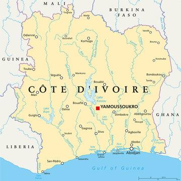 Ivory Coast Political Map - Cote d'Ivoire