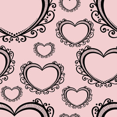 Vector Seamless Pattern with Hearts. Valentine's Day