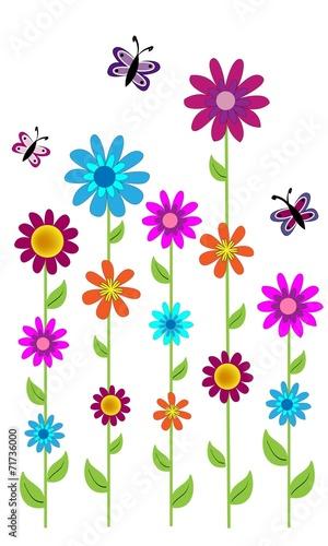 Flores de colores y mariposas.\