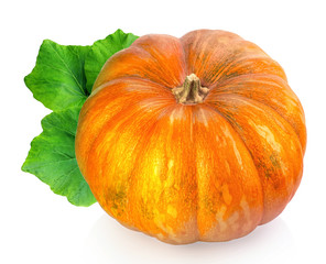 yellow pumpkin vegetable with green leaves isolated on white bac