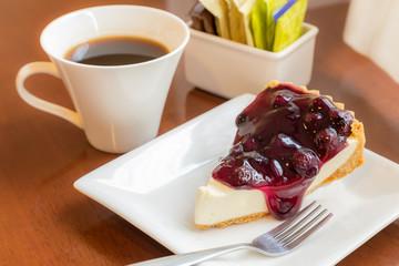 Yummy Bluberry pie with coffee