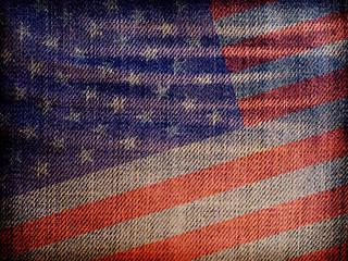 National flag on denim texture: USA