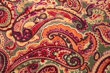 Traditional paisley pattern silk background