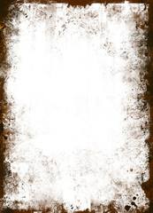 Grungy old texture frame on white background
