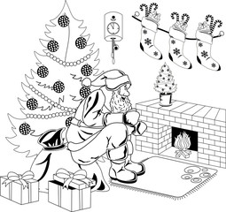 Santa Claus sits by the fire